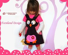 Owldress from Feenland Design; NEU! Cordkleid EULE UHU raspberry von krabbelkee collection by Feenland auf DaWanda.com
