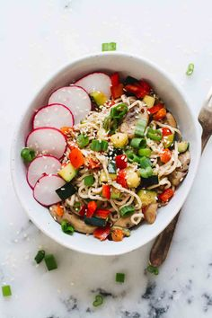 Creamy, savory Sesame Tahini Noodles (w/ Roasted Veggies) that are vegan, vegetarian, gluten free, and perfect for an easy weeknight dinner!
