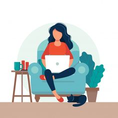 Girl with laptop on the chair. Freelance or studying concept. Cute illustration in flat style. - Buy this stock vector and explore similar vectors at Adobe Stock Illustration Design Plat, Illustration Mignonne, People Illustration, Cute Illustration, Character Illustration, Digital Illustration, Vector Illustrations, Vector Design, Vector Art