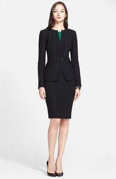 Free shipping and returns on St. John Collection Bouclé Knit Jacket with Crepe Trim at Nordstrom.com. A gold-rimmed black button secures this elegant St. John suiting jacket rendered in a richly textured bouclé knit. Fine tonal crepe adds subtle contrast at the lapels and figure-flattering angled pocket flaps.