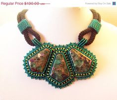 SALE Statement Beadwork Bead Embroidery Pendant Necklace by lutita, $110.50