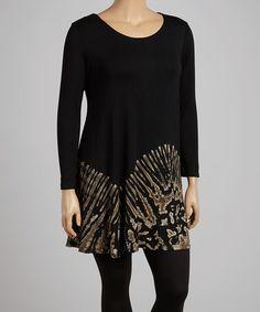 Look at this #zulilyfind! Black & Beige Tie-Dye Tunic - Plus #zulilyfinds