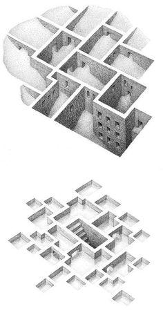 Negative Space Illustrations by Matthew Borett Inspiration Grid Design Inspiration architecture Architecture Sketchbook, Space Architecture, Architecture Collage, Space Illustration, Fashion Illustration Sketches, Grid Design, Design Art, Sketch Inspiration, Design Inspiration