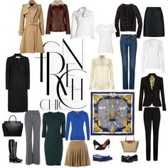 Capsule wardrobe taken from essential wardrobe in French Chic by Susan Sommers