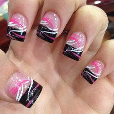 Pink and black French tip nails- Pink and black French tip nails Leyla H leylaunie Nägel Pink and black French tip nails Leyla H Pink and black French tip nails leylaunie Pink and black French tip nails Nägel Pink and black French tip nails Leyla H Nail Tip Designs, Fingernail Designs, Acrylic Nail Designs, Acrylic Nails, Art Designs, Toe Nail Art, Toe Nails, Nail Nail, Nail Glue
