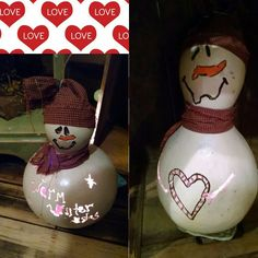 Lighted snowman gourds by Nick and Noah. $12.99 ea
