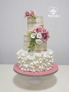 Wedding cake - cake by MOLI Cakes - CakesDecor Elegant Wedding Cakes, Beautiful Wedding Cakes, Gorgeous Cakes, Wedding Cake Designs, Pretty Cakes, Amazing Cakes, Cake Decorating Techniques, Cake Decorating Tips, Fondant Cakes