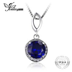 JewelryPalace Round Cut 2.5ct Created Blue Sapphire Halo Pendant Necklace Solid 925 Sterling Silver 45cm Engagement Jewelry Gift