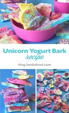 Our Unicorn Yogurt Bark Recipe is perfect for a unicorn themed party and it is a healthy snack, healthy dessert option for kids. Recipe on http://blog.landofnod.com