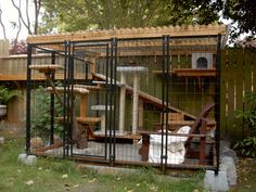 Catio Trend - Outdoor Pet Cage. I'd plant a few plants too because cats love to hide in the bushes.