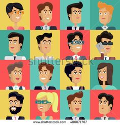Set of peoples faces  in flat style. Collection of business characters heads on different colors background. Illustrations for corporate avatars, app icons, infographics, logotype design.