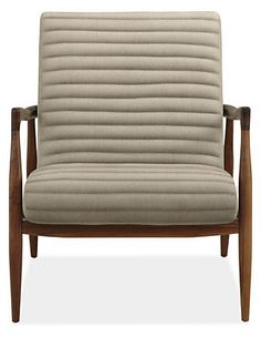 Callan chair ($1,199.00) with walnut frame. Shown in Trip fabric in Linen.