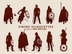 Set of illustrated viking silhouettes. Characters have different shields…