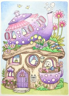 Cute Drawings, Drawing Sketches, Mushroom Art, Cottage Art, House Drawing, Whimsical Art, Doodle Art, Coloring Books, Colouring