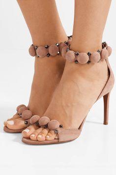 Alaïa   Bombe 90 studded suede sandals   NET-A-PORTER.COM