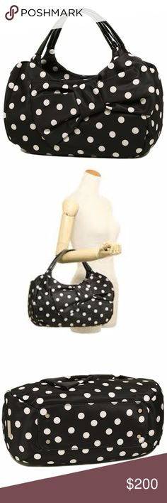 NWT Kate Spade Polka Dot Bow Hobo gorgeous giant hobo bag from kate spade. brand new with tags.  - Black and white nylon - Black Patent leather - Black fabric on the inside - Zipper Closure - Zipper pouch within - (L) 14 x (H) 8 x (W) 5 inches kate spade Bags