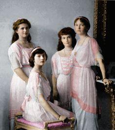 The daughters of Czar Nicholas II  Olga, Tatiana, Marie, and Anastasia