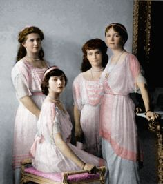 The daughters of Czar Nicholas II ( Olga, Tatiana, Marie, and Anastasia)
