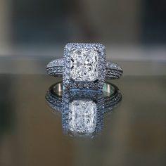 2ct Radiant Emerald Shape , Halo Micro-pave Settings Simulated Diamond - Diamond Veneer® Miligree Vintage Style Ring, 635r12825