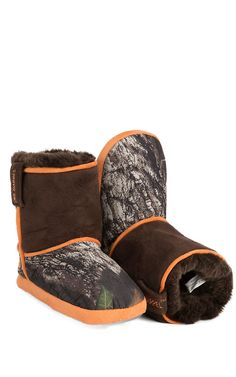 DBL Barrel® Kid's Brown with Orange Camouflage Cowboy Boot Slippers