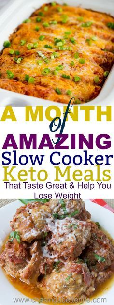 These Keto Slow Cooker Recipes will save me! Thirty days of recipes and just start over! No thinking, no boredom and they practically cook themselves!