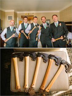 hatchet groomsmen gift is always a good idea  http://www.weddingchicks.com/2014/01/23/paradise-found-wedding/