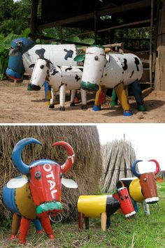 All of these quirky farm animals are sculpted from old 44 gallon oil drums, showcasing the original barrel colors and even parts of the company logos. Super clever – and very cute!