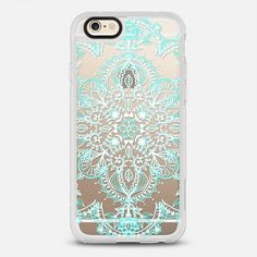 Aqua and White Lace Mandala on Wood - New Standard Case