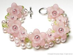 Cherry Blossom Floral Charm Bracelet by whimsydaisydesigns on Etsy, $36.00
