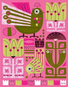 Scandinavian, danish, pink, sling, folk birds  Print by Jenn Ski for sale on Etsy https://www.etsy.com/shop/JennSki?section_id=10357099&ref=shopsection_leftnav_5