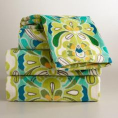 One of my favorite discoveries at WorldMarket.com: Blue and Green Tulip Bath Towel Collection