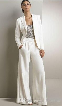 67fe7a7a5035b 2pcs Formal Women Mother Ivory Pants Suits Mother of The Bride Pant Suits  Office Business Lady Jacket For Wedding Party Bridal Evening Wear
