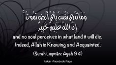 and no soul perceives in what land it will die.  Indeed, Allah is Knowing and Acquainted. (Quran 31:34)
