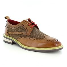 Justin Reece Aiden Mens Leather And Tweed 4-Eyelet Brogue Shoes - Brown