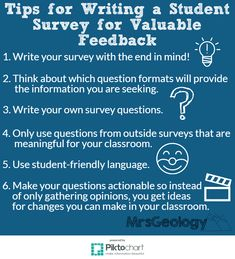 Tips for Writing a studentsurvey that will get teacher the valuable classroom feedback they want and need. Survey Your Students: Tackle Teacher Doubt and Learn from Your Students