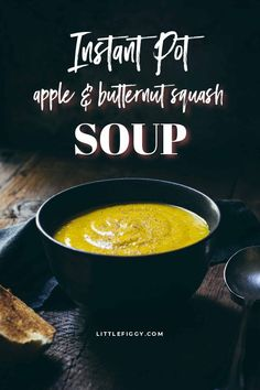 Try this cozy Instant Pot Soup Recipe for Apple and Butternut Squash Soup! An easy to make a 30-minute meal that is gluten-free and keto-friendly, plus with a simple switch in ingredients is also made into a vegetarian/vegan soup, dairy-free, and paleo soup recipe. Learn how to make this easy Instant Pot Soup at Little Figgy Food. #souprecipes #glutenfree #dairyfree #ketorecipe #paleorecipe #vegetarian #vegan #healthyrecipe #fallrecipes #butternutsquash #applerecipes
