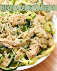Zucchini Noodle Chicken Alfredo Recipe by Tasty Grab Some Zucchini And Make This Healthier Chicken Alfredo Dish Zoodle Recipes, Spiralizer Recipes, Diet Recipes, Chicken Recipes, Cooking Recipes, Healthy Recipes, Zoodles And Chicken Recipe, Recipe Pasta, Low Carb