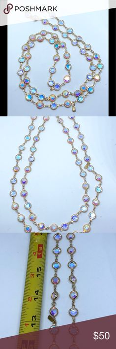 Swarovski Aura Vintage Bezel Necklace This dazzling Vintage Authentic Swarovski necklace are in great condition with no missing crystals . General Condition: Overall great condition  Since 1989 ,including this necklace all genuine Swarovski products feature the swan logo .  1895 Swarovski makes extremely high and finest quality crystal /glass in the world. It is well-known for their lines of sparkly , spotless,reflective crystal jewelry It comes without box Swarovski Jewelry Necklaces