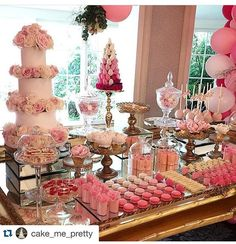 Beautiful dessert table for a combined Christening and Birthday party styled by Regram Honoured to be a vendor with our Pink ombré Macarons alongside these marvelously talented people Engagement Party Desserts, Wedding Desserts, Wedding Cakes, Wedding Decorations, Pink Dessert Tables, Dessert Buffet, Dessert Cups, Desert Table, Desert Bar