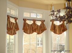 Decoration, Inspiring Brown Gold Layered Valance Ideas With Handmade Tailored Over Blind As Decorate White Window Treatment Design: Soothing...