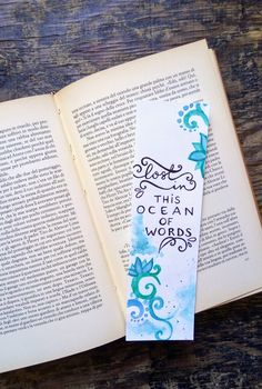 Handmade bookmark with watercolor design + handlettered calligraphy Bookmarks Quotes, Bookmarks For Books, Cute Bookmarks, Paper Bookmarks, Bookmark Craft, Watercolor Bookmarks, How To Make Bookmarks, Bookmark Ideas, Corner Bookmarks