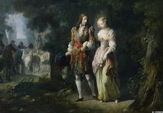 Louis XIV and Louise de la Valliere in the Bois de Vincennes by Jean-Frederic Schall