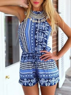 Blue,National Style,Romper,Playsuit,Ethnic Print,Tribe Pattern