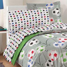 Soccer Balls Bedding Set Grey Football Bed-in-Bag: Twin