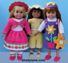 "American Girl 18"" Doll Crochet Clothing Pattern Downloads fits American Girl, Springfield, Syndee, etc."