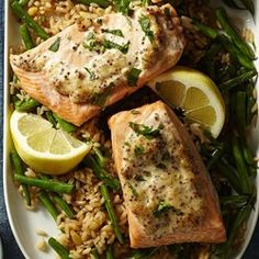 Dijon Salmon with Green Bean Pilaf - EatingWell.com
