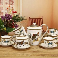 """15 Piece"" European Ceramic Animals Pattern Wedding Gift Coffee Tea Set Teaset"