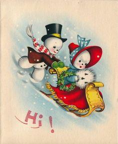 Vintage Greeting Card Christmas Snowman (O711)