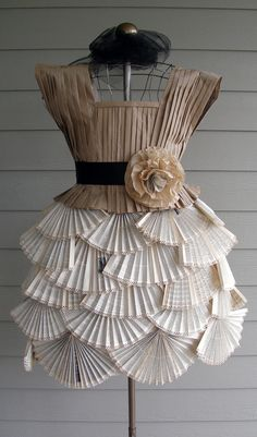 Paper Dress made from old book pages and packaging materials
