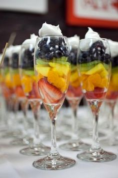 Fruit Parfaits so cute for gender reveal party